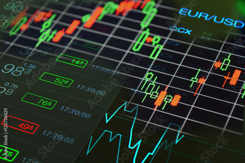 Stock Market Financial Business Black Background Abstract Collage Forex Trading Chart And Currency Exchange Rate Of Euro Dollar