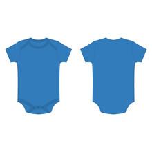 Light Blue Baby Bodysuit Romper Isolated Vector On The White Background