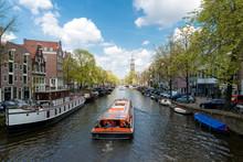 Westerkerk Church With Cruise Ship At Amsterdam, Netherlands