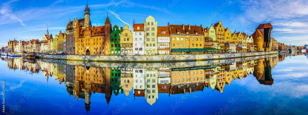 Panoramę Gdańska w Polsce, piękny widok na stare miasto