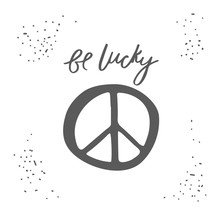 Hand Drawn Card, Postcard With Peace Sign