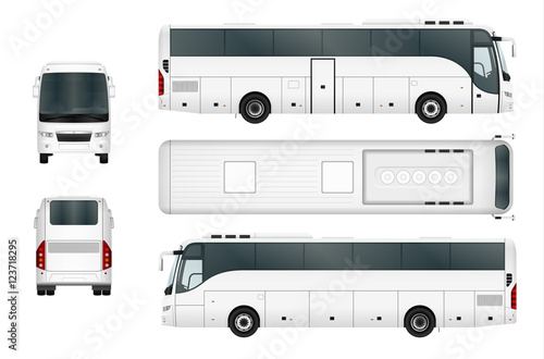 Fotografie, Tablou Vector bus template isolated on white background