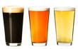 Leinwanddruck Bild - Three pints of beer on white
