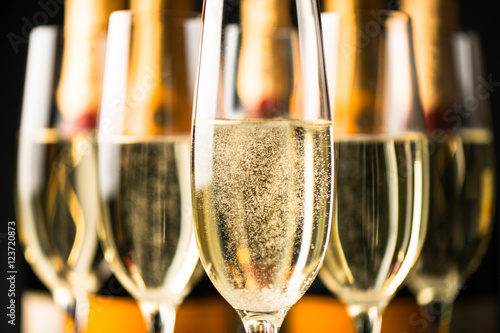 Fotografie, Obraz  Champagne Glasses and Bottles