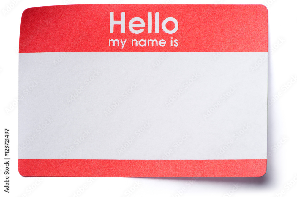 Fototapety, obrazy: Hello Name Tag Sticker on White