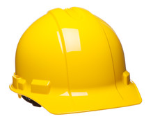 Yellow Construction Safety Hard Hat Helmet At Slight Angle Isolated On White Background For Use Alone Or As A Design Element