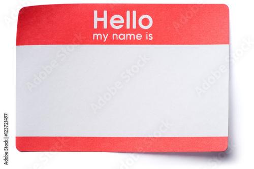 Fotografía  Hello Name Tag Sticker on White
