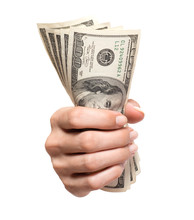 Woman's Hand Holding Grasping Gripping Several Hundred Dollar Bills Isolated On White Background