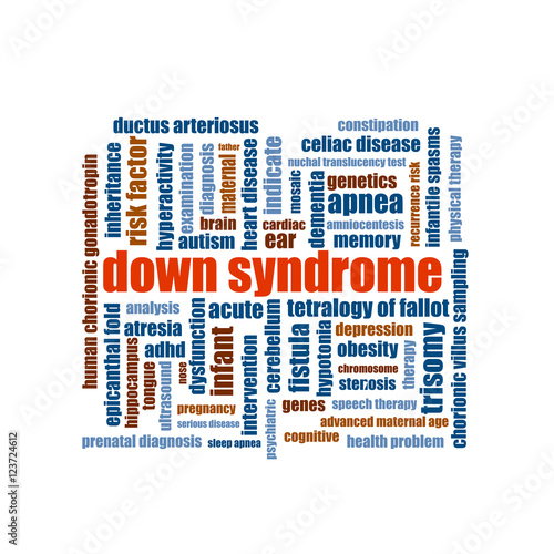 Photo Down syndrome word cloud collage illustration