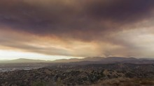 Santa Clarita Sand Fire Smoke Timelapse From Sun Valley, CA Wide