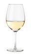 Leinwandbild Motiv Single white chardonnay wine glass isolated on white background