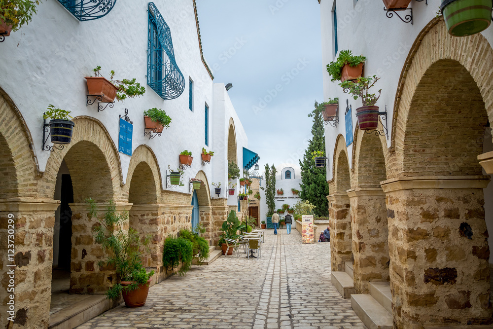 Fototapety, obrazy: Lovely little street in Hammamet Tunisia