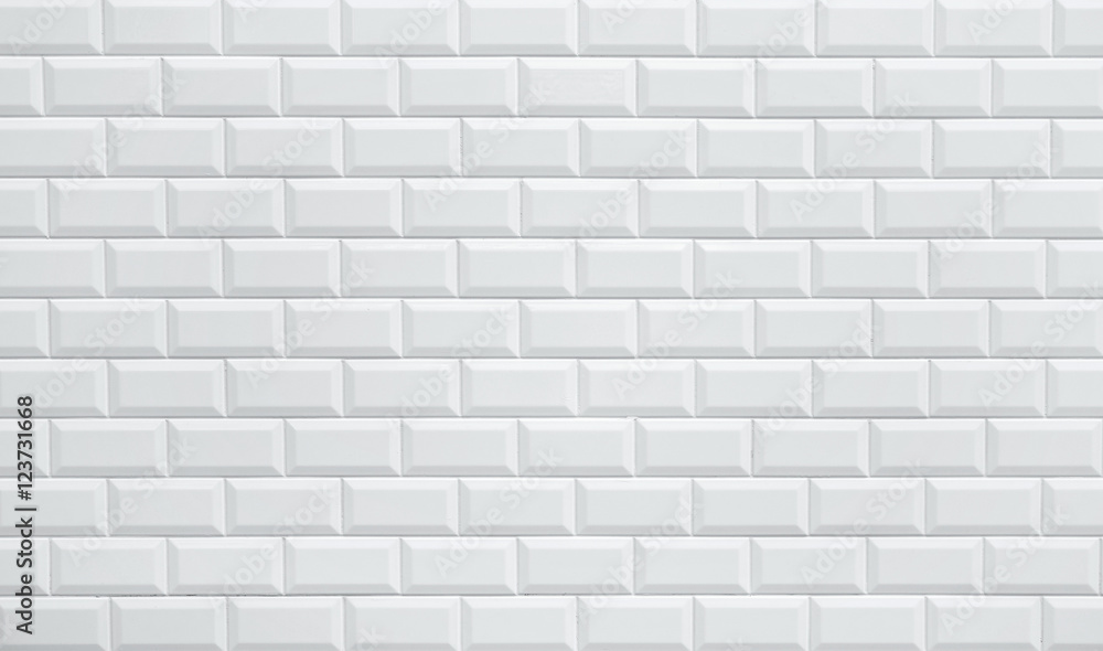 Fototapeta white ceramic brick tile wall