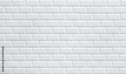 Poster Brick wall white ceramic brick tile wall
