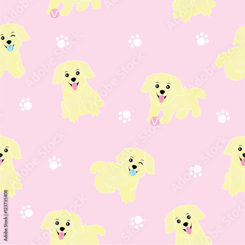 Seamless Background Of Baby Shower Illustration With Cute Puppies On Pink Background Suitable For Wallpaper Postcard And Scrap Paper Buy This Stock Vector And Explore Similar Vectors At Adobe Stock