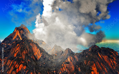 Cuadros en Lienzo Smoking caldera of the volcano 3d rendering