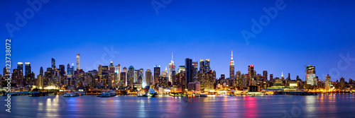 New York City Skyline Panorama als Hintergrund