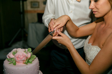 Obraz na płótnie Canvas Bride and groom are cutting a wedding cake