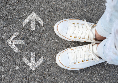 White casual shoes making decision Poster