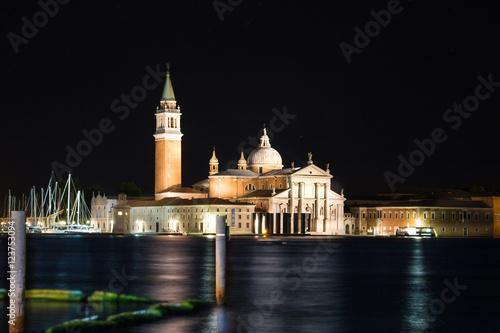 Plakat Noc nocy Wenecja kościół San Giorgio Maggiore dzwonnica