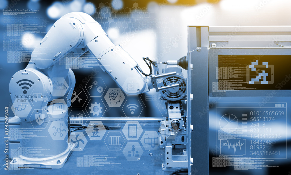 Fototapeta Industry 4.0 concept .Industry graphic sign and blue tone of automate wireless Robot arm in smart factory background. Double exposure , flare light