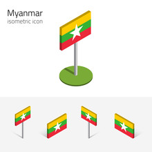 Myanmar Flag (Republic Of The Union Of Myanmar), Vector Set Of Isometric Flat Icons, 3D Style, Different Views. Editable Design Elements For Banner, Website, Presentation, Infographic, Map. Eps 10