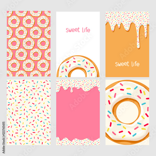 fototapeta na ścianę Set of bright food cards. Set of donuts with white glaze. Donut seamless pattern.