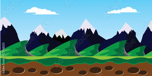 Tuinposter Purper snowy mountain landscape illustration