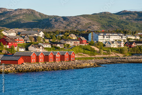 Red houses on the bay of Alta, Norway Wallpaper Mural