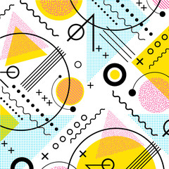 Fototapeta 1980s inspired memphis pattern background