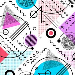 Fototapeta1980s inspired memphis pattern background