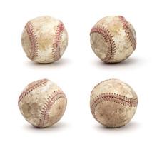 Set Of Dirty Baseball Isolated On White Background
