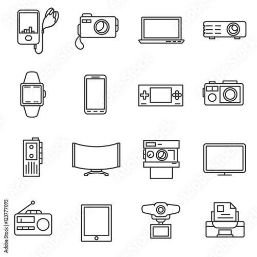 Electronic Equipment Line Icons Set Electrical Engineering
