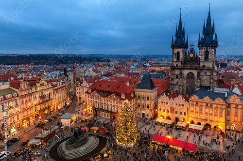 Staande foto Praag Old Town Square and Christmas market in Prague.