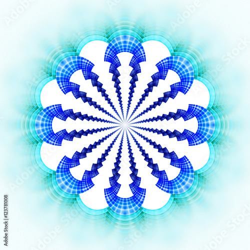9a73693c8 Symmetrical pattern in bright blue colors. Fantasy fractal design for  posters, postcards, wallpapers or t-shirts. Digital art. 3D rendering.