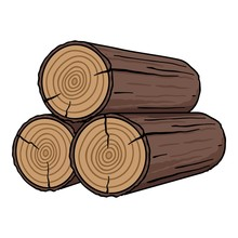 Stack Of Logs Icon In Cartoon ...