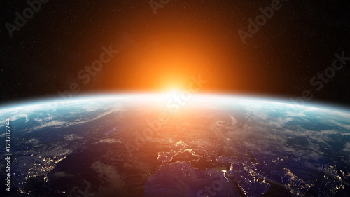 Sunrise over planet Earth in space 3D rendering elements of this Canvas Print