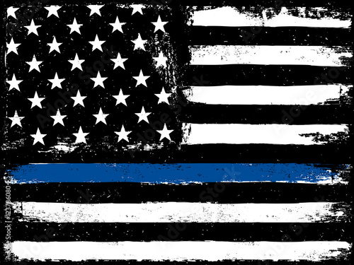 Fotografía  Thin Blue Line. Black Flag with Police Blue Line.