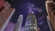 4k Time-lapse of Building in Hong Kong city at night, China