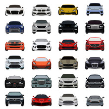 Super Car Flat Icons Set