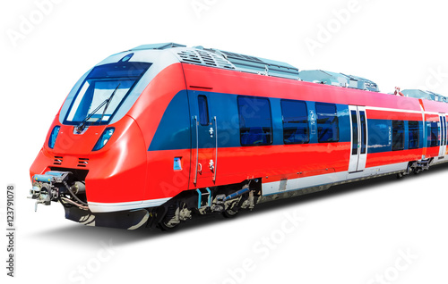 Fotomural  Modern high speed train isolated on white
