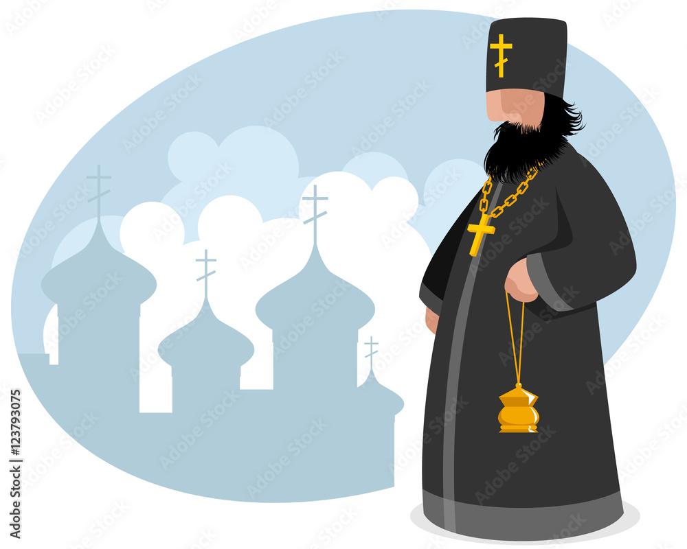 Fototapety, obrazy: Orthodox priest with censer