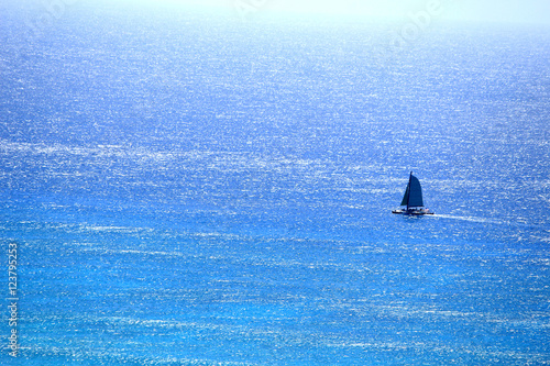 stock photo yacht sailing in Hawaii