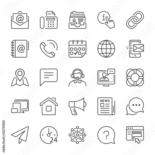 basic contact and communication line icons Wall mural