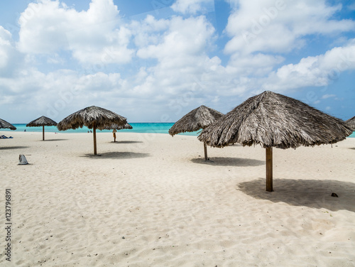 Thatched Umbrellas on Aruba Beach Canvas Print