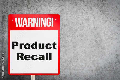 Fotografia, Obraz  Product Recall problem warning signage for production industry.