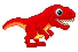 Fototapeta Dinusie - Pixel Art T Rex Cartoon Dinosaur