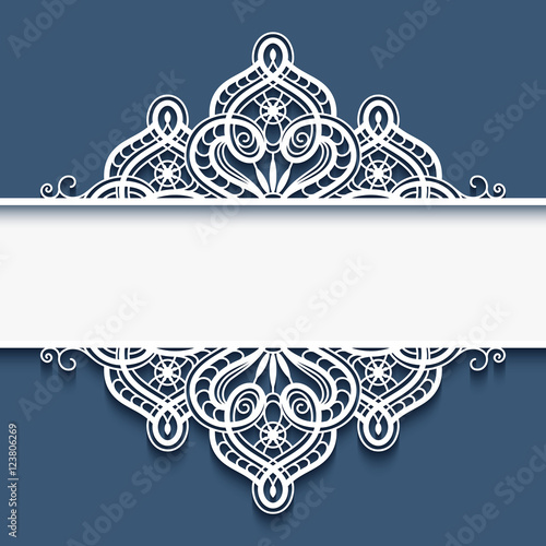 Fotografia, Obraz  Ornamental paper frame with lace border