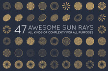 Set Of Sunburst Vector Rays Of...