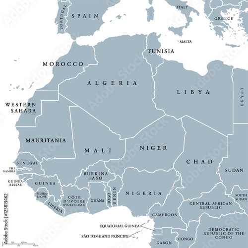 West Africa Countries Political Map With National Borders. English Country  Names. Illustration. Gray